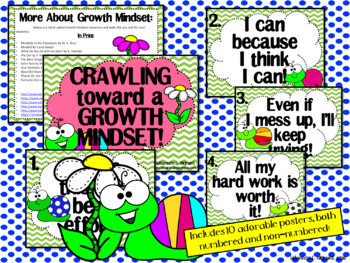 Growth Mindset Posters and Writing Activities (Snail Theme)