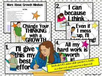 Growth Mindset Posters and Writing Activities (Teen / High School Theme)