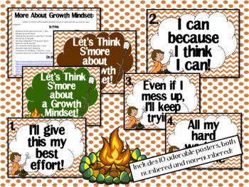 Growth Mindset Posters and Writing (Camping S'mores Theme)