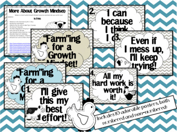 Growth Mindset Posters and Writing (Farmhouse Shabby Chic Theme)