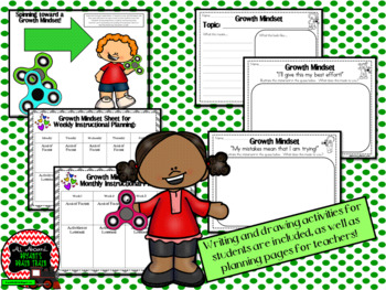 Growth Mindset Posters and Writing (Fidget Spinners Theme)