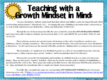 Growth Mindset Posters and Writing (Hot Air Balloon Theme)