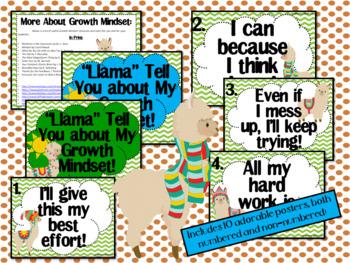 Growth Mindset Posters and Writing (Llama, Llama Theme)