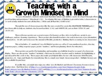 Growth Mindset Posters and Writing (Mustache Theme)