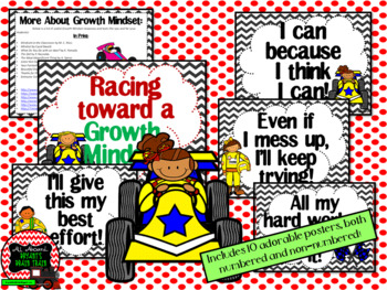 Growth Mindset Posters and Writing (Racecar Theme)