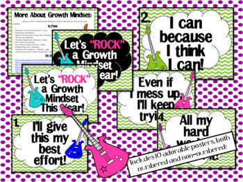 Growth Mindset Posters and Writing (Rock and Roll Guitar Theme)