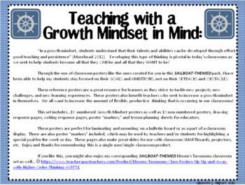 Growth Mindset Posters and Writing (Sailboat Theme)