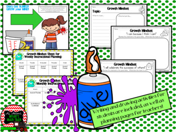 Growth Mindset Posters and Writing (Silly Slime Theme)