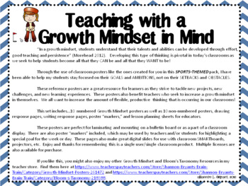 Growth Mindset Posters and Writing (Sports Theme Blue)