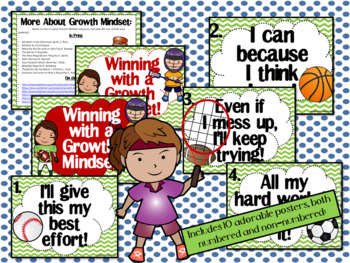Growth Mindset Posters and Writing (Sports Theme Green)