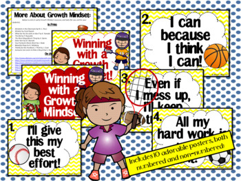Growth Mindset Posters and Writing (Sports Theme Yellow)