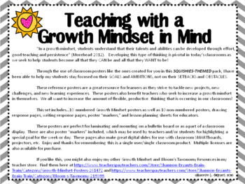 Growth Mindset Posters and Writing (Squishies Theme)
