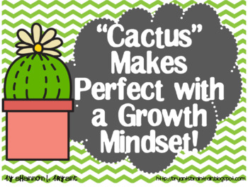 Growth Mindset Posters and Writing (Succulent Cactus Theme)