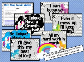 Growth Mindset Posters and Writing (Unicorn Theme)