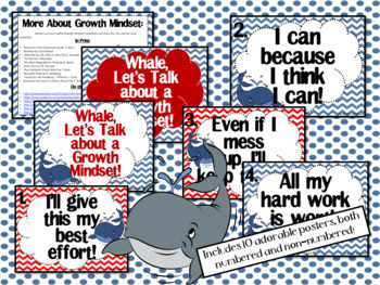 Growth Mindset Posters and Writing (Whale Nautical Theme)