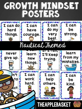 Growth Mindset Nautical Themed Posters