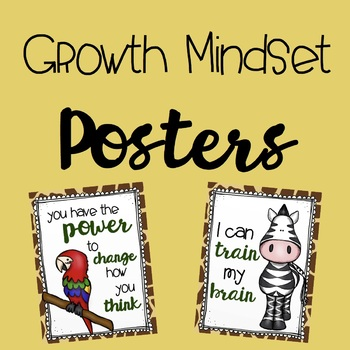 Growth Mindset Posters for Jungle Theme