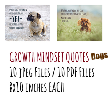 Growth Mindset Posters for Middle and Upper Grades - Dogs