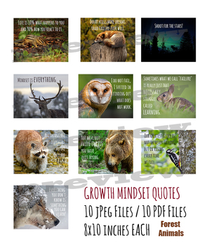 Growth Mindset Posters for Middle and Upper Grades - Forest Animals