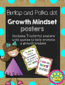 Growth Mindset Posters in Burlap and Polka Dot