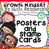 Growth Mindset! Power Word Posters, Phrase Posters, and Student Stamp Cards
