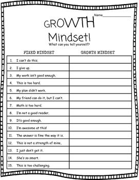Growth Mindset Worksheet By Miss Maggie Teachers Pay Teachers