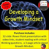 Growth Mindset Presentation and Reading Activity for Students -Print and Digital