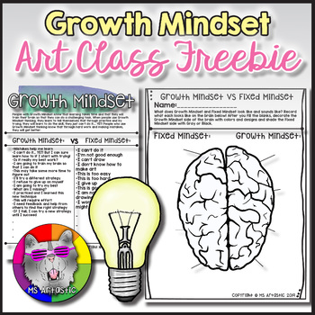 "Teach Growth Mindset to overcome fear of failure and encourage a mistake driven classroom. Growth Mindset is essential in creating an environment where students are not afraid to make mistakes or fail. Teaching Growth Mindset in your art classroom is essential if you want students to believe that THEY can GROW! Teaching ""Growth Mindset"" thinking to your students in your classroom can teach them to change the way they think: to allow them to believe they can create art if they practice and try, to know that mistakes help them learn, and that learning takes time and determination."