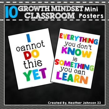 Growth Mindset Printable Posters: Set of 10