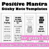 Growth Mindset Printable Sticky Note Templates  (December New Year)