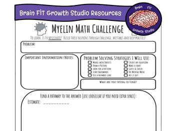 Growth Mindset Problem Solving Recording Sheet (Myelin Math Challenge)