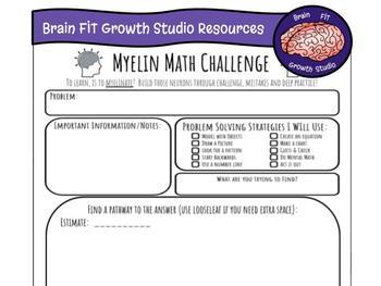 Growth Mindset Problem Solving Recording Sheet (Myelin Mat