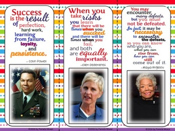 Growth Mindset! Quotable Notables Posters and Bookmarks!