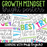 Growth Mindset Quote Bright Decor Posters