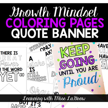 Growth Mindset Quote Bunting Banner Coloring Pages