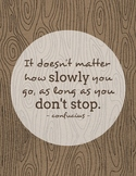 Growth Mindset Quote Poster - Confucius - Boho Woodgrain