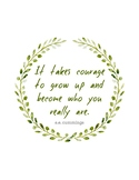 Growth Mindset Quote Poster - It takes courage - Boho