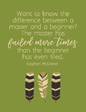 Growth Mindset Quote Poster - Master has failed more times - Boho