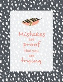 Growth Mindset Quote Poster - Mistakes - Boho