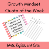 Growth Mindset Quote of the Week and Journal Writing Prompts