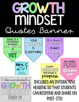 Growth Mindset Quotes | Growth Mindset Quotes Banner By Rachel Castaneda Tpt