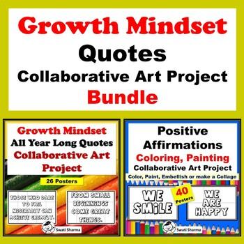Growth Mindset Quotes Collaborative Art Project  Bundle