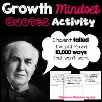Growth Mindset Quotes - Read and Respond