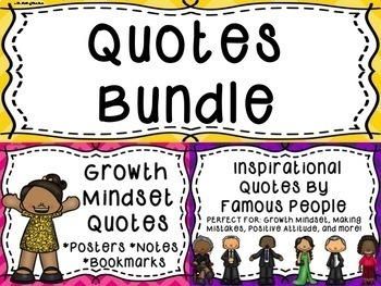 Growth Mindset Quotes-Famous People's Inspirational Quotes POSTERS & MORE BUNDLE