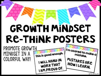 Growth Mindset Re-Think Posters (Bright & White Design)