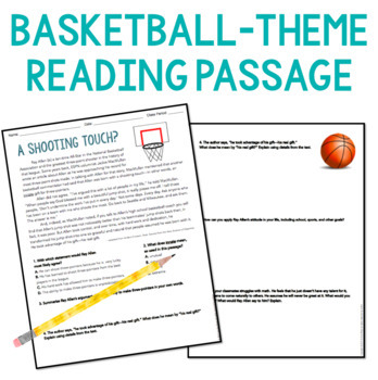 Growth Mindset Reading Comprehension : Basketball Theme