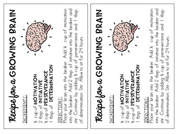 Growth Mindset Recipe Cards for a Growing Brain