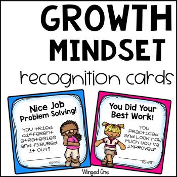 Growth Mindset Student Recognition Cards (Including Editable)