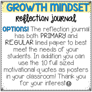 Growth Mindset Reflection Journal by Christina Winter - Mrs Winter\'s ...