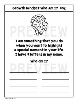 Growth Mindset Riddles (Who Am I?)